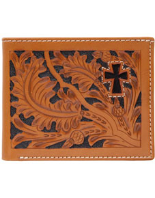 3D Acorn Pattern & Cross Inlay Western Bifold Wallet - Natural - Western Wallets | Spur Western Wear