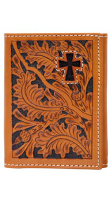 3D Acorn Pattern & Cross Inlay Western Trifold Wallet - Natural - Western Wallets | Spur Western Wear
