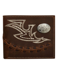 3D Fancy Stitch & Concho Western Bifold Wallet - Brown - Western Wallets | Spur Western Wear