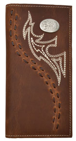3D Fancy Stitch & Concho Western Rodeo Wallet - Brown - Western Wallets | Spur Western Wear