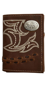 3D Fancy Stitch & Concho Western Trifold Wallet - Brown - Western Wallets | Spur Western Wear