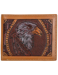 3D Eagle Design Western Bifold Wallet - Tan - Western Wallets | Spur Western Wear