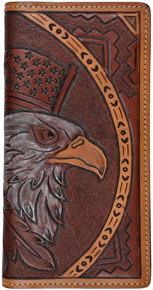 3D Eagle Design Western Rodeo Wallet - Tan - Western Wallets | Spur Western Wear