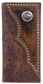 3D Brown Ostrich Print & Hair-On Inlay Western Rodeo Wallet