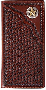 3D Basketweave Pattern Western Rodeo Wallet - Tan - Western Wallets | Spur Western Wear