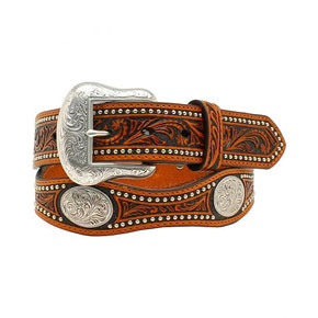 Nocona Scalloped Western Belt - Black & Tan