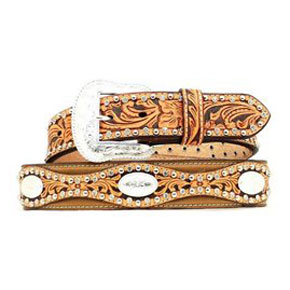 Nocona Scalloped Western Belt - Brown & Tan