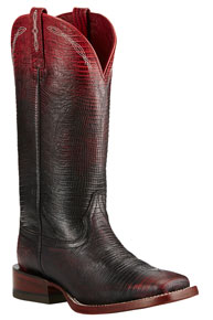 Ariat Ombre Lizard Print Western Boots - Red - Ladies