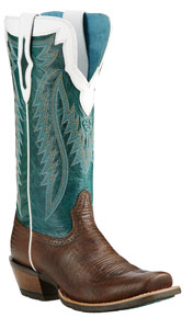 Ariat<sup>®</sup> Futurity Western Boot - Chocolate Lizard Print/Bright Emerald - Ladies' Western Boots | Spur Western Wear