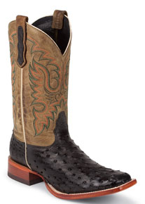 Nocona Quicksilver Full Quill Ostrich Western Boot - Black - Men's Western Boots | Spur Western Wear