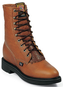 "Justin Double Comfort Conductor Lacer 8"" Work Boot - Copper - Men's Western Boots 
