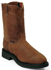 "Justin Double Comfort Conductor Pull-On Steel Toe 10"" Work Boot - Brown - Men's Western Boots 