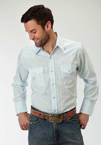 Roper Aqua Striped Long Sleeve Snap Front Western Shirt - Men's Western Shirts | Spur Western Wear