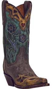 Dan Post Vintage Blue Bird Western Boot - Chocolate - Ladies' Western Boots | Spur Western Wear