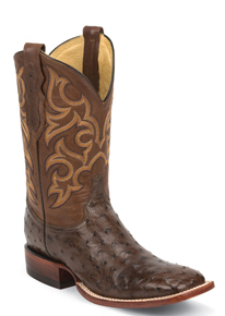 Justin Truman Full Quill Ostrich Western Boot - Brown - Men's Western Boots | Spur Western Wear
