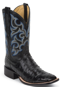 Justin Truman Full Quill Ostrich Western Boot - Black - Men's Western Boots | Spur Western Wear