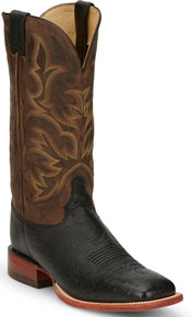 Justin Pascoe Smooth Quill Ostrich Western Boot - Black - Men's Western Boots | Spur Western Wear