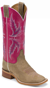 Justin Bent Rail Albany Western Boot - Pink - Ladies' Western Boots | Spur Western Wear