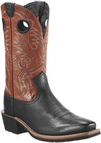 Ariat<sup>®</sup> Heritage Roughstock Western Boot - Buckboard Black/Burnt Clay - Men's Western Boots | Spur Western Wear