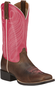 Ariat<sup>®</sup> Round Up Wide Square Toe Western Boot - Wicker/Hot Pink - Ladies' Western Boots | Spur Western Wear