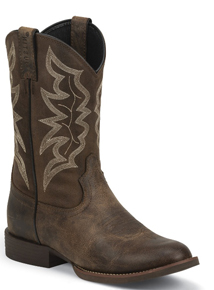 Justin Buster Western Boot - Distressed Brown - Men's Western Boots | Spur Western Wear