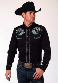 Roper Floral Embroidery Long Sleeve Snap Front Western Shirt - Black - Men's Western Shirts | Spur Western Wear