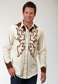 Roper Flame Embroidery Long Sleeve Snap Front Western Shirt - White - Men's Western Shirts | Spur Western Wear