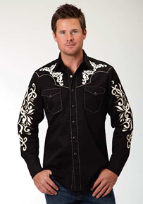 Roper Applique Long Sleeve Snap Front Western Shirt - Black - Men's Western Shirts | Spur Western Wear