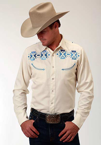 Roper Aztec Embroidery Long Sleeve Snap Front Western Shirt - White - Men's Western Shirts | Spur Western Wear