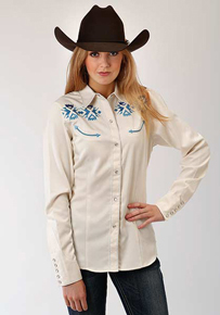Roper Aztec Embroidery Long Sleeve Snap Front Western Shirt - White - Ladies' Western Shirts | Spur Western Wear