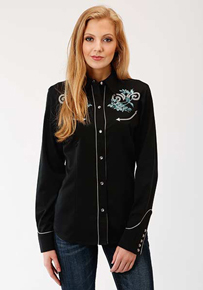Roper Floral Long Sleeve Snap Front Western Shirt - Black - Ladies' Western Shirts | Spur Western Wear