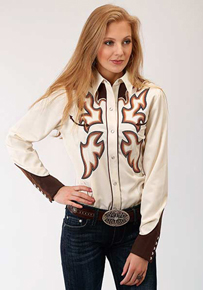 Roper Flame Embroidery Long Sleeve Snap Front Western Shirt - White - Ladies' Western Shirts | Spur Western Wear
