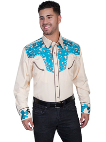 This Scully Retro Western Cream Shirt Features Tooled Embroidery in Turquoise On The Front And Back Yokes, Two Smile Pockets With Arrow Points, Contrast Piping, Satin Inside Trim, Spread Collar And Five Snap Caballero Tooled Cuffs.