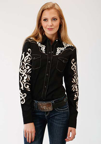 Roper Applique Embroidery Long Sleeve Snap Front Western Shirt - Black - Ladies' Western Shirts | Spur Western Wear