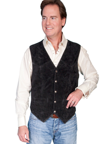 Scully Calf Suede Leather Western Vest - Black - Men's Leather Western Vests and Jackets | Spur Western Wear