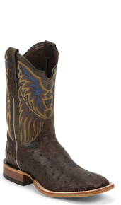 Tony Lama Chuquitas Full Quill Ostrich Western Boots - Dark Brown - Men's Western Boots | Spur Western Wear