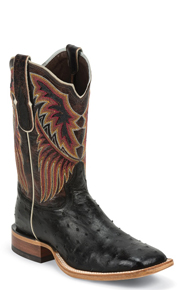 Tony Lama Chuquitas Full Quill Ostrich Western Boots - Black - Men's Western Boots | Spur Western Wear