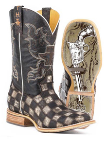 Tin Haul Gunmetal Check Western Boot - Brown - Men's Western Boots | Spur Western Wear