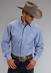 59fce86339 Stetson Striped Long Sleeve Snap Front Western Shirt - Blue - Men's Western  Shirts | Spur