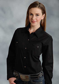 Roper Poplin Long Sleeve Snap Front Western Shirt - Black - Ladies' Western Shirts | Spur Western Wear