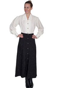 Wah Maker Button-Front Skirt - Black - Ladies' Old West Skirts | Spur Western Wear