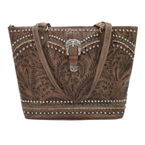 American West Blue Ridge Zip-top Tote - Charcoal Brown - Ladies' Western Handbags And Wallets | Spur Western Wear
