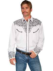 Scully Long Sleeve Snap Front Western Shirt - White with Scroll Design - Men's Retro Western Shirts | Spur Western Wear
