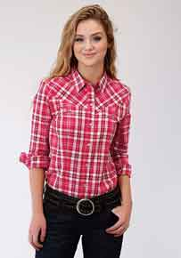 Roper Plaid Long Sleeve Snap Front Western Shirt - Red - Ladies' Western Shirts | Spur Western Wear