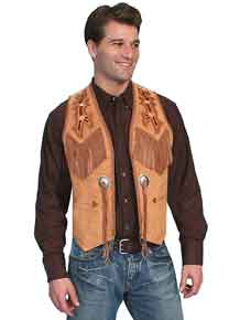 Scully Boar Suede Bead-Trimmed Western Vest - Bourbon - Men's Leather Western Vests and Jackets | Spur Western Wear