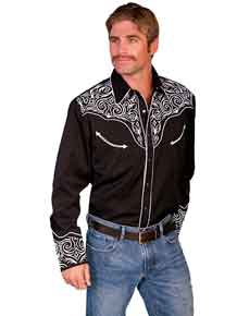 Scully Long Sleeve Snap Front Western Shirt - Black with Scroll Design - Men's Retro Western Shirts | Spur Western Wear