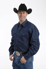 Roper Denim Long Sleeve Snap Front Western Shirt - Navy - Tall - Men's Western Shirts | Spur Western Wear