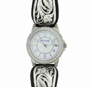 Montana Silversmiths® Carved Legacy LeatherCut Bowing Floral Dress Watch - Western Jewelry | Spur Western Wear