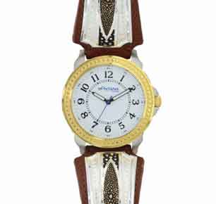 Montana Silversmiths® Two Tone River Pebbles Leather Band Watch - Western Jewelry | Spur Western Wear