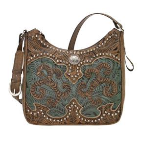 American West Annie's Secret Concealed Carry Shoulder Bag - Turquoise & Brown - Ladies' Western Handbags And Wallets | Spur Western Wear